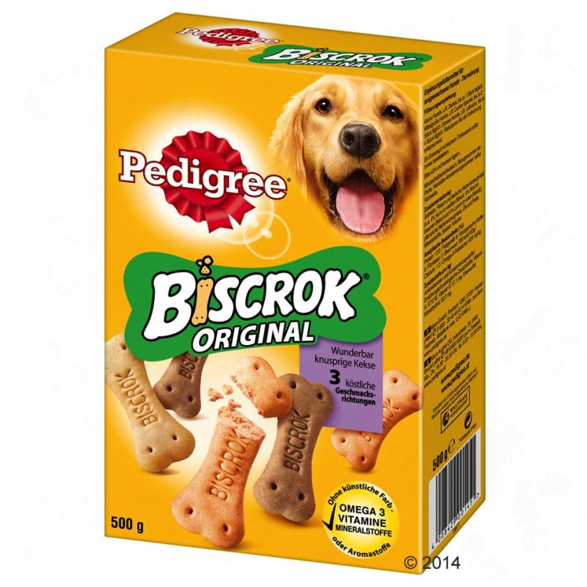 Biscuits Pedigree Biscrok, 3 saveurs - maxi lot % : 6 x 500 g