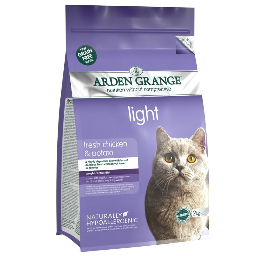 2x4kg Light Arden Grange Croquettes pour chat Poulet/pommes de terre