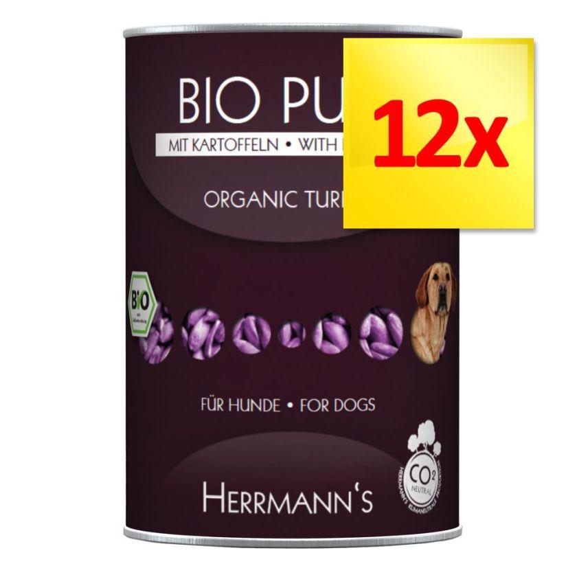Lot Herrmanns Menu sans céréales 12 x 400 g - canard bio, patates douces, potiron, huile d´onagre