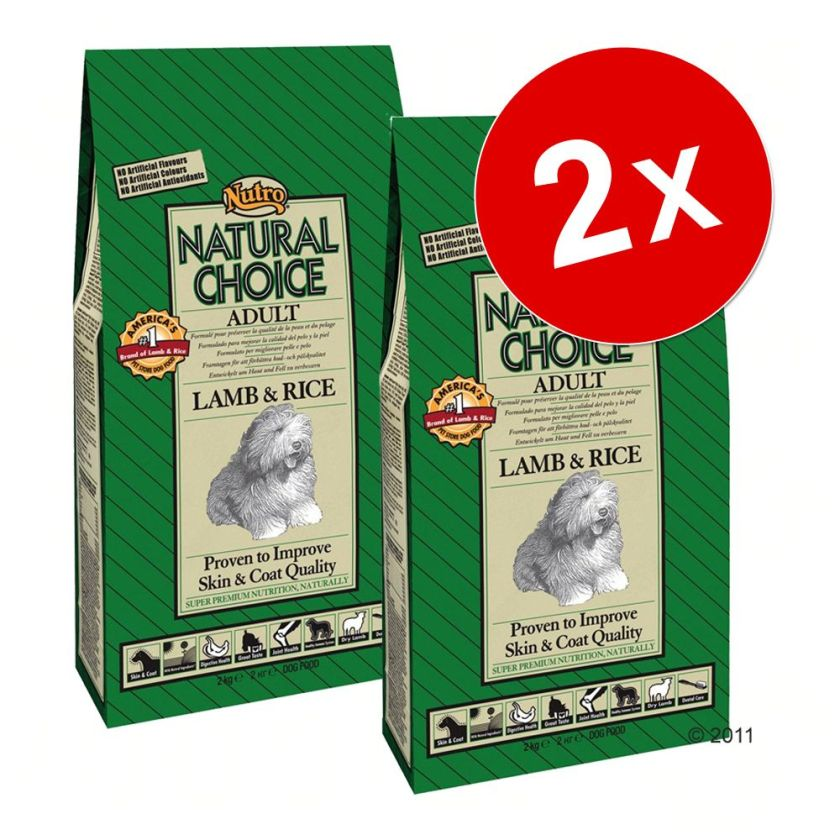 2x12kg Adult Large Breed Nutro Choice agneau, riz pour chien