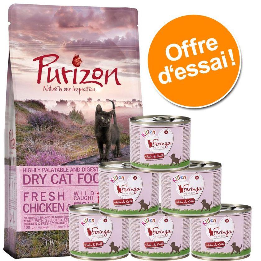Offre découverte chaton : croquettes Purizon, 400 g + boîtes Feringa, 6 x 200 g - lot 1 : Purizon + Feringa poulet, veau