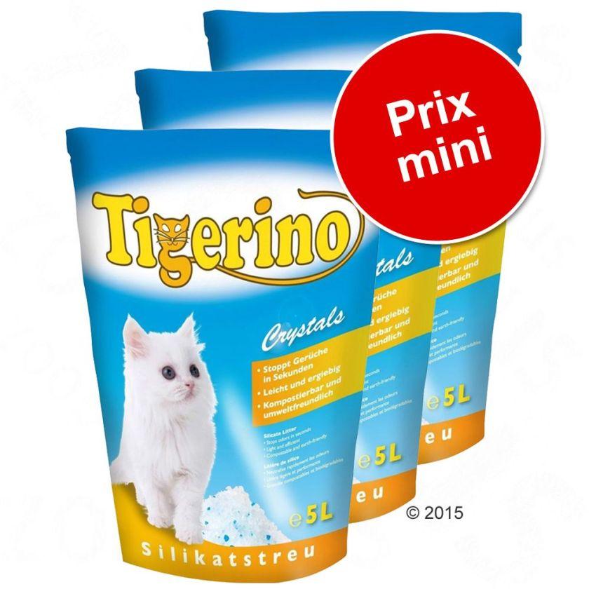 Lot économique litière Tigerino - Tigerino Crystals Fun bleu (3 x 5 L)