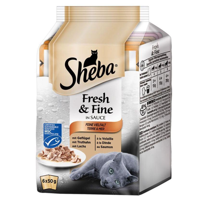 12x50g Sélection à la volaille & légumes Délices du jour Fresh & Fine Sheba - Nourriture pour Chat