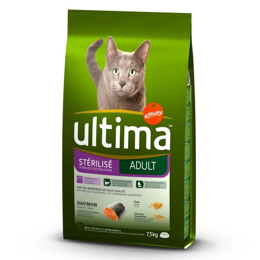 Ultima Stérilisé, saumon, orge pour chat - 2 x 7,5 kg