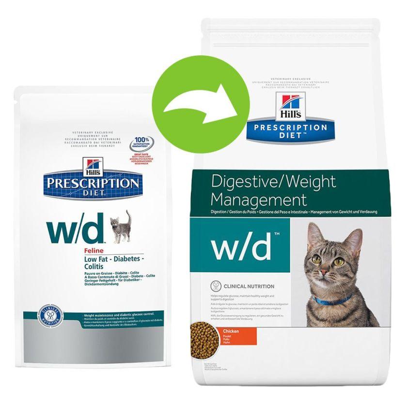 Hill´s Prescription Diet Feline w/d - 5 kg + 12 x 156 g w/d poulet (boîtes)