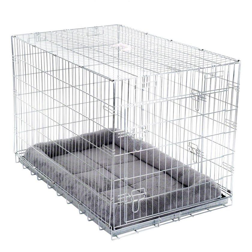 Cage Double Door avec coussin pour chien / chat l60 P89 H66 cm  - Cage métallique pour Chien