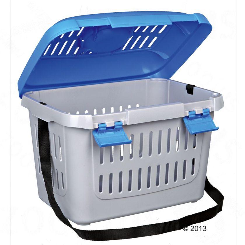 Cage de transport Capri pour chien, chat et rongeur - L 44 x l 33 x H 32 cm (gris clair/bleu)