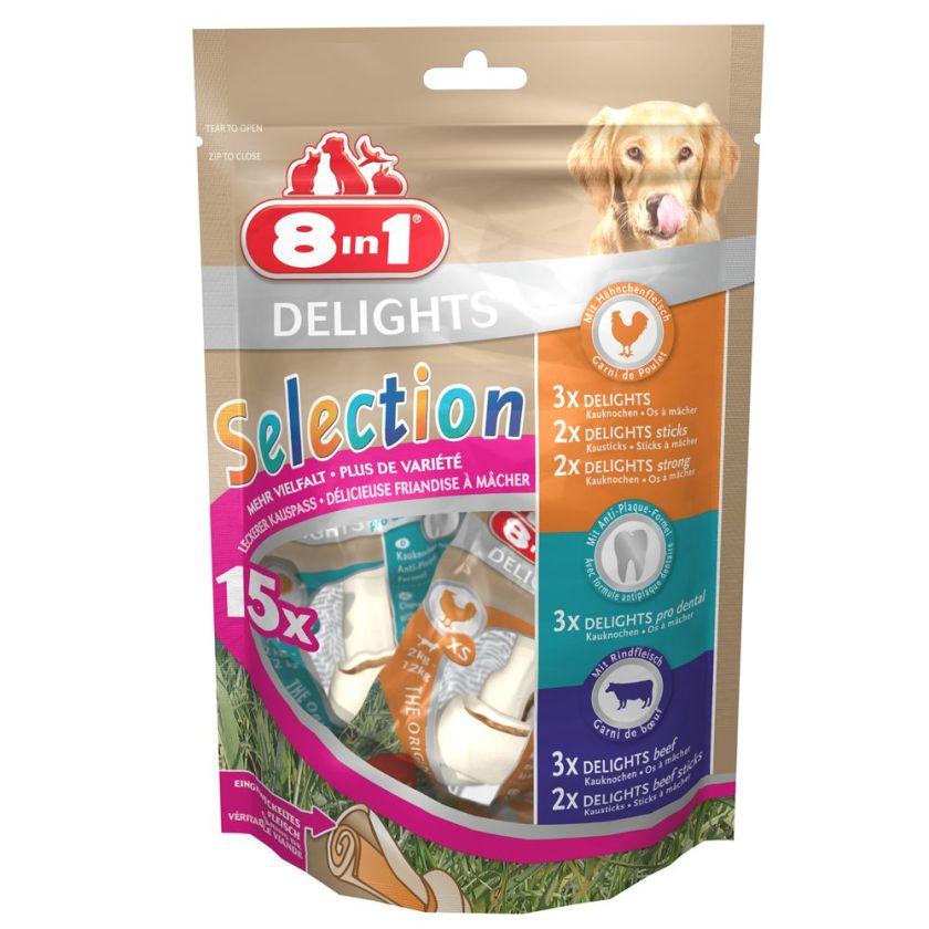 15 friandises Selection 8in1 Delights assortiment d'os et bâtonnets à mâcher - Friandises pour chien