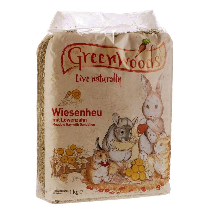 Greenwoods Foin de prairie pour rongeur et lapin - pommes sauvages 1 kg