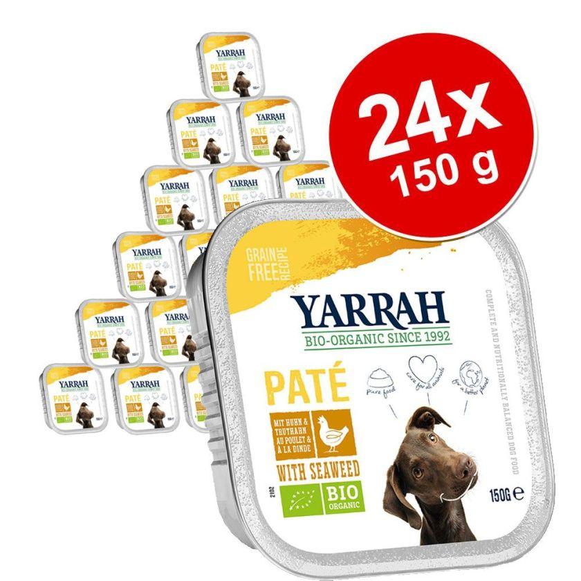 24x150g Pâté, bœuf, spiruline sans céréales Yarrah Bio - Nourriture pour chien