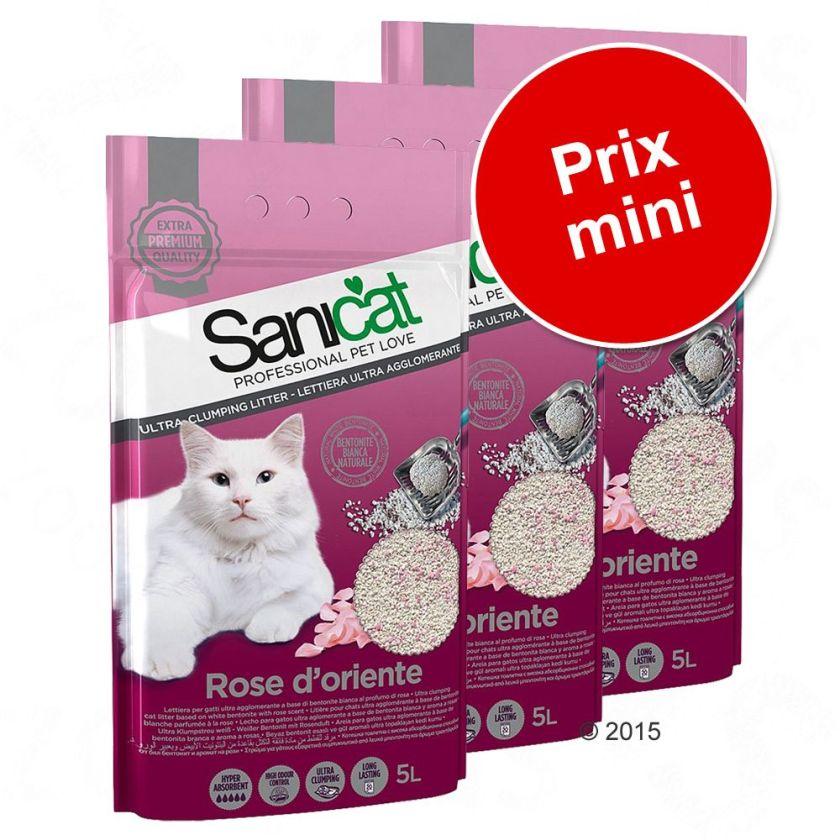 Lot économique litière Sanicat - Sanicat Professional Multipet Fine Fresh (3 x 3,8 L)