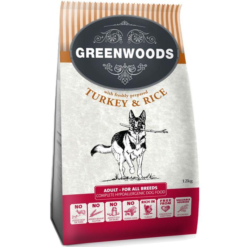 400g Adult dinde riz Greenwoods - Croquettes pour Chien