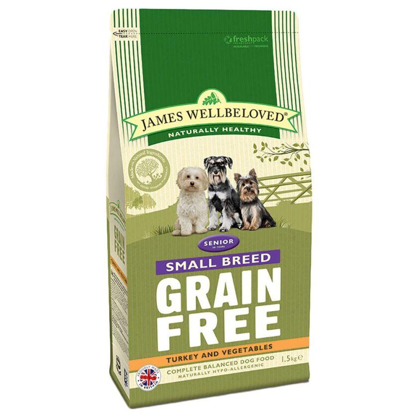 James Wellbeloved Senior Small Breed sans céréales, dinde, légumes pour chien - 1,5 kg