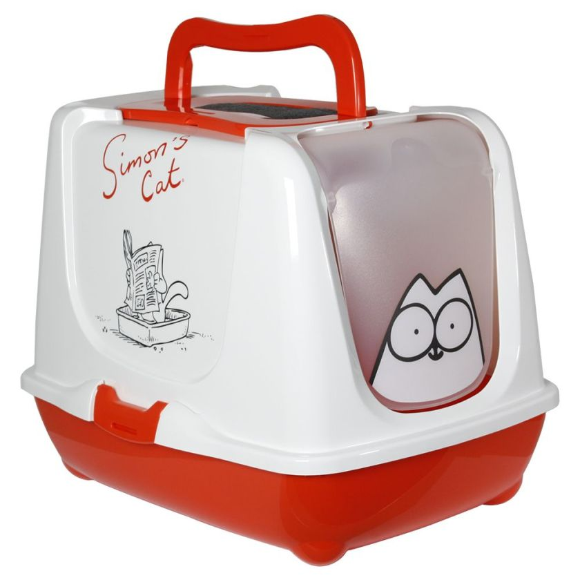 Maison de toilette Simon's Cat pour chat couleurs rouge / blanc