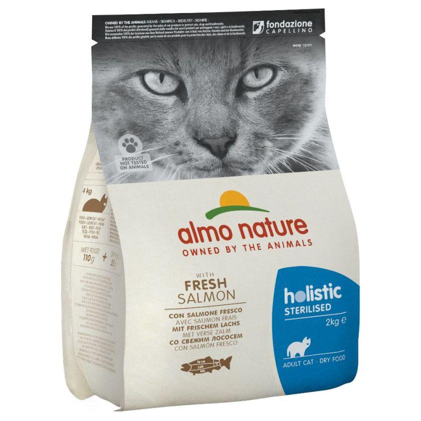 2kg Sterilised saumon, riz Almo Nature Holistic pour chat