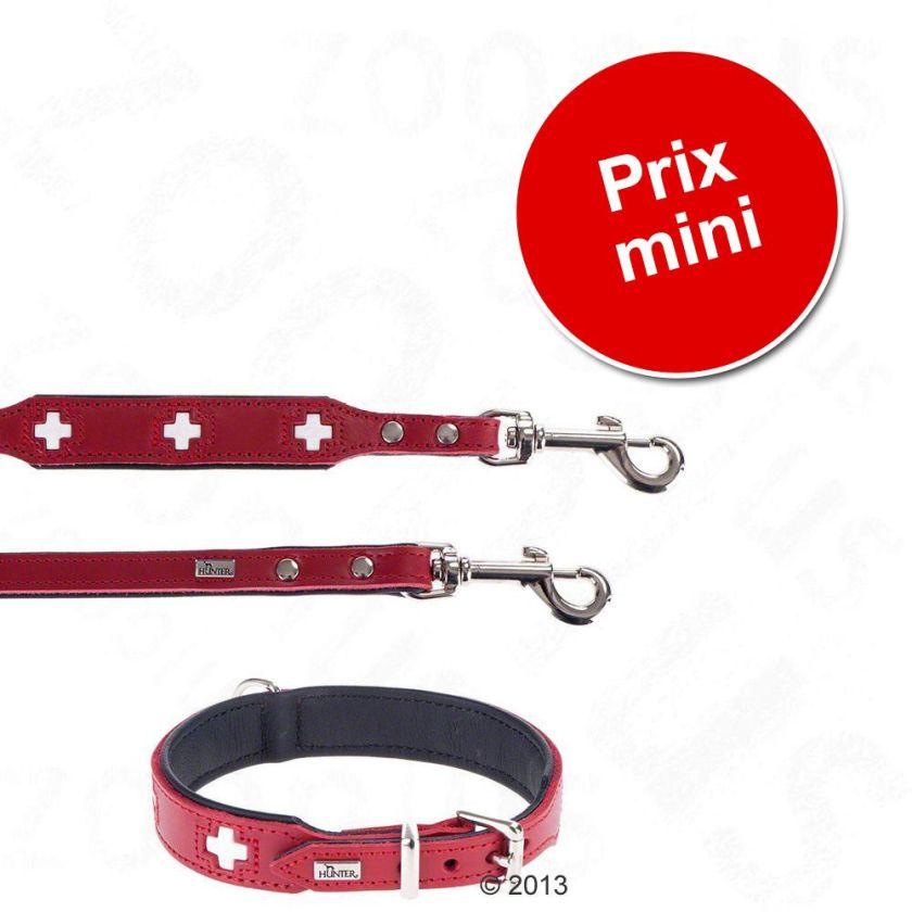 Lot Hunter Swiss : collier + laisse en cuir pour chien - lot collier taille 65 + laisse L 200 cm
