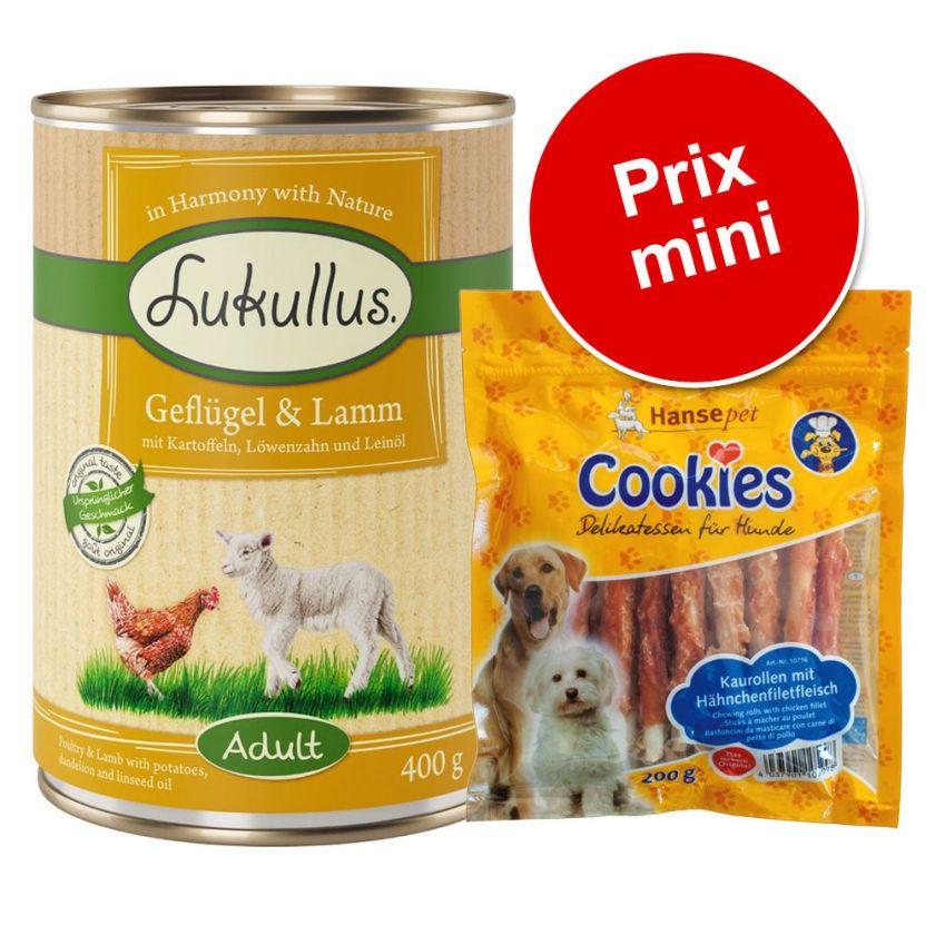6x400g bœuf, dinde + Cookie's 200 g Lukullus - Nourriture pour chien