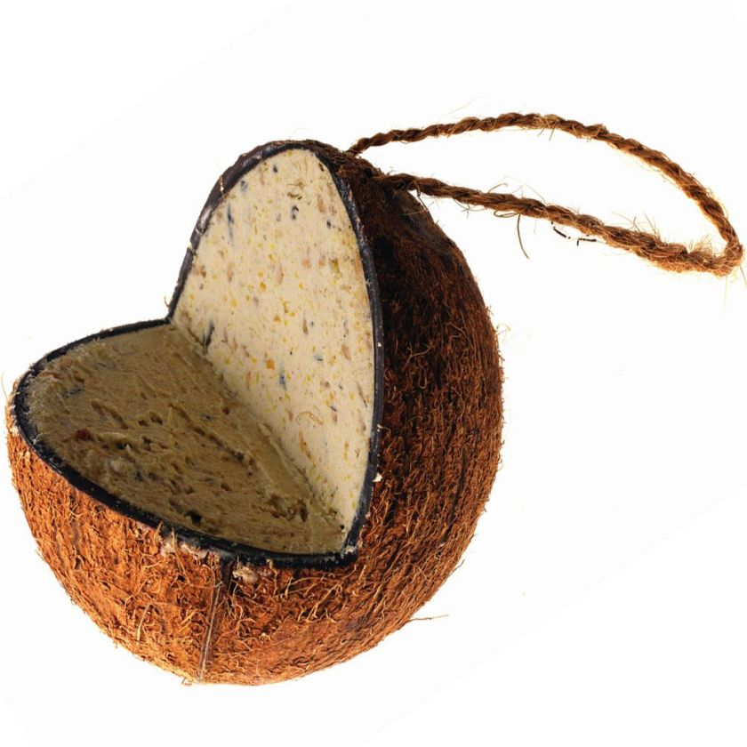 Noix de coco fourrée de graisse pour oiseaux sauvages - 3 x 350 g