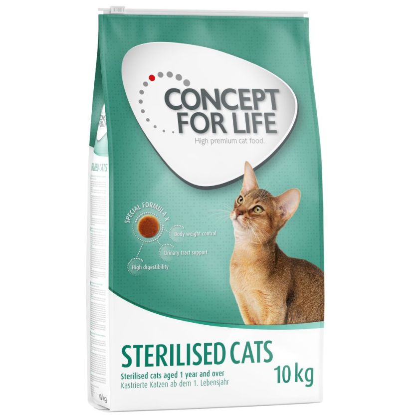 10kg Sterilised Cats Croquettes Concept for Life pour chat stérilisé