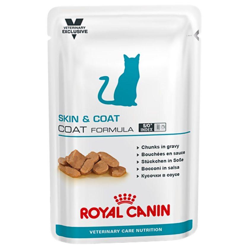 12x100g Adult Skin & Coat Vet Care Nutrition Royal Canin Veterinary Diet - Nourriture pour Chat