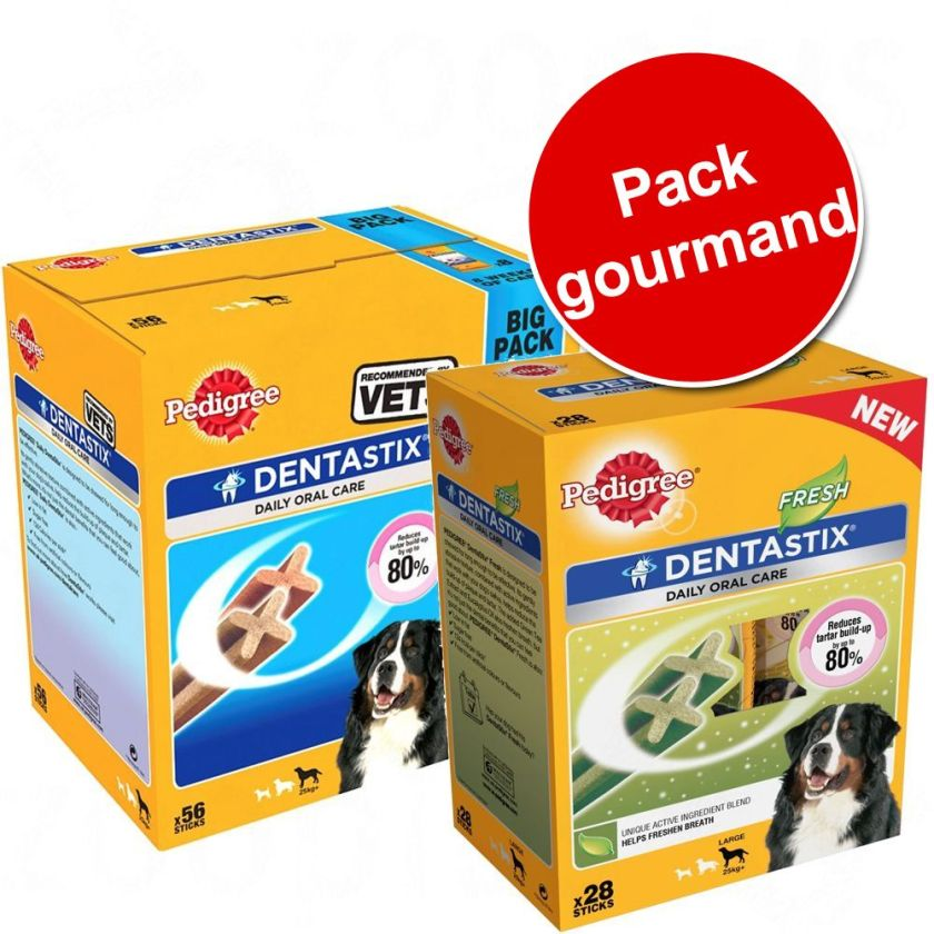 Pack gourmand Pedigree : 56 Dentastix + 28 Dentastix Fresh à prix avantageux ! - 56 Dentastix Maxi + 28 Dentastix Fresh Maxi