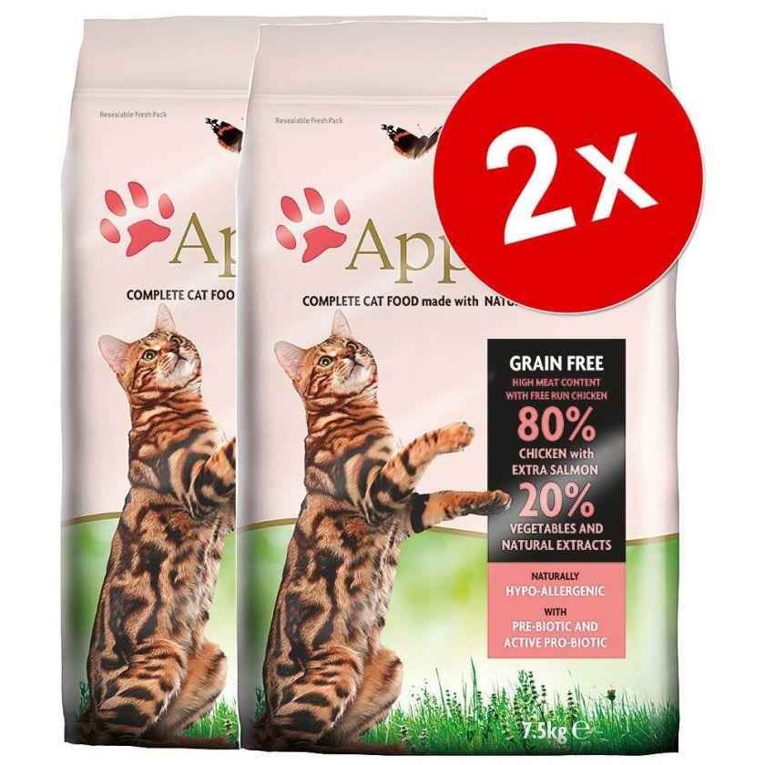 2x7,5kg Applaws Poulet/canard Croquettes pour chat
