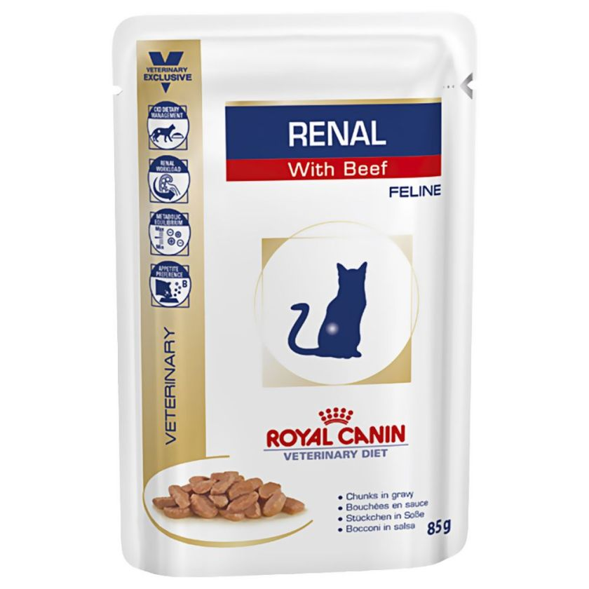 12x85g bœuf Renal Royal Canin Veterinary Diet - Nourriture pour Chat