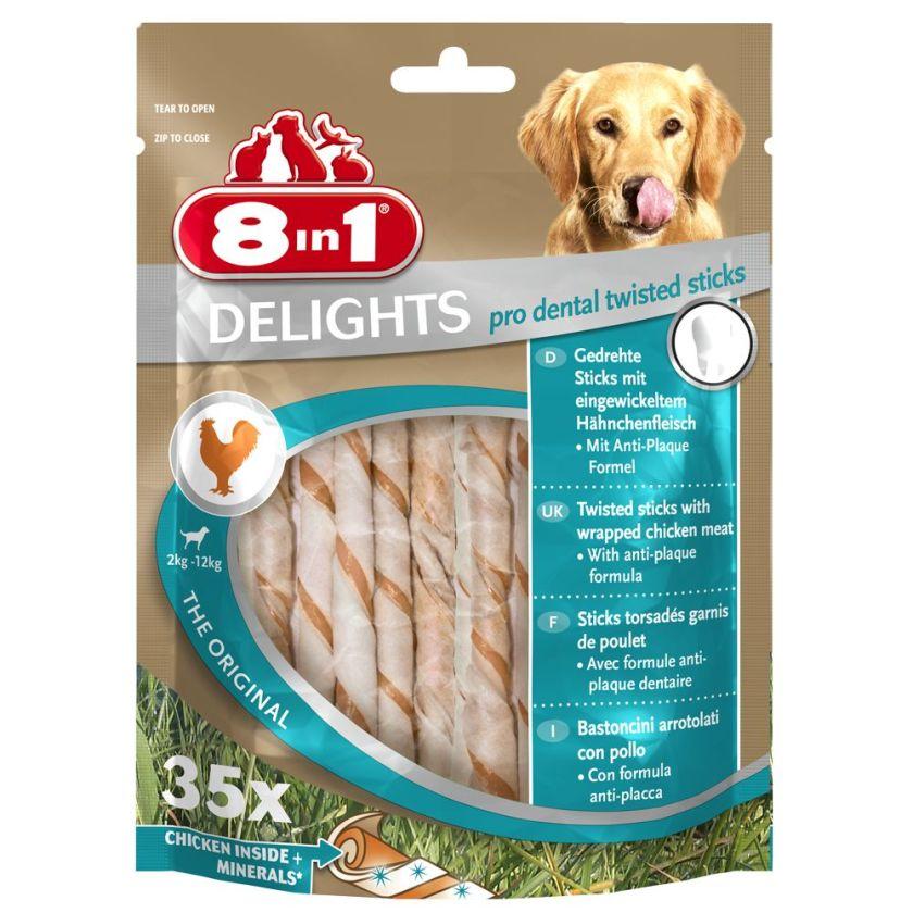 8in1 Delights Pro Dental, bâtonnets à mâcher pour chien - 70 bâtonnets