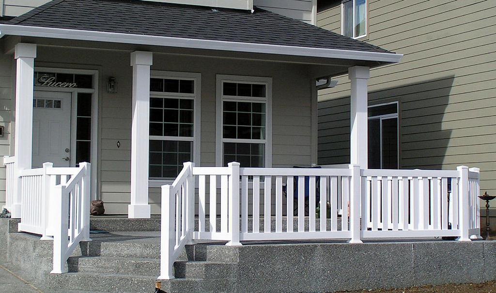 Wood porch fence. 农村三层白色别墅设计图 土拨鼠装修网. front vinyl ...