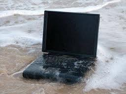 water logged laptop computer