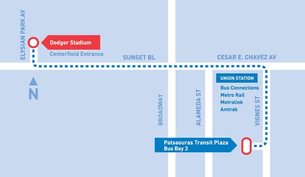 Dodger Stadium Express Map
