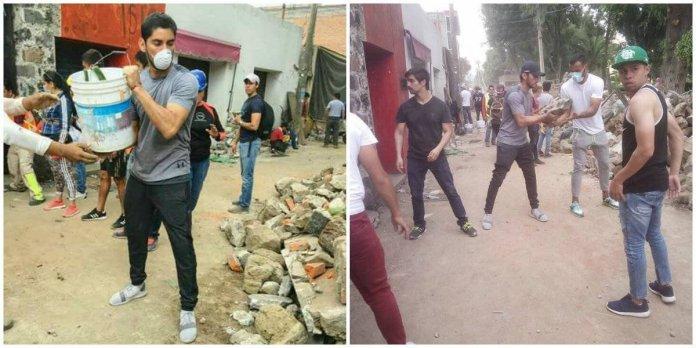 Jesús Corona ayuda a remover escombros tras sismo en México