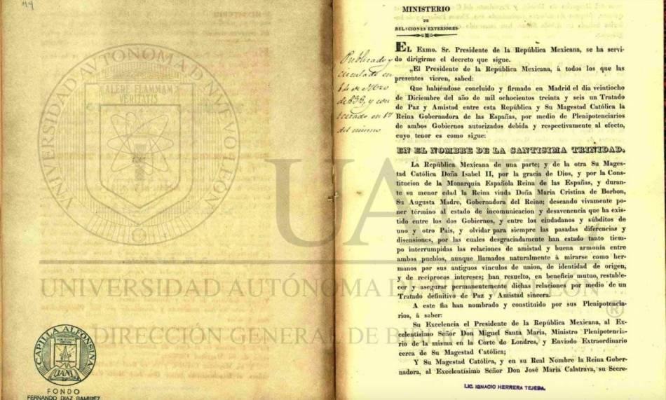 Tratado de Paz entre México y España. Foto: Universidad Autónoma de Nuevo León Foto: Captura de pantalla