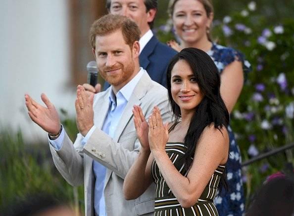 Meghan Markle y Harry durante una recepción para los jóvenes, la comunidad y la sociedad civil líderes en la Residencia del Alto Comisionado británico, en septiembre de 2019 Getty Images