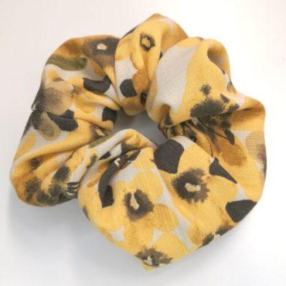 Scrunchie gula blommor viscose-linne