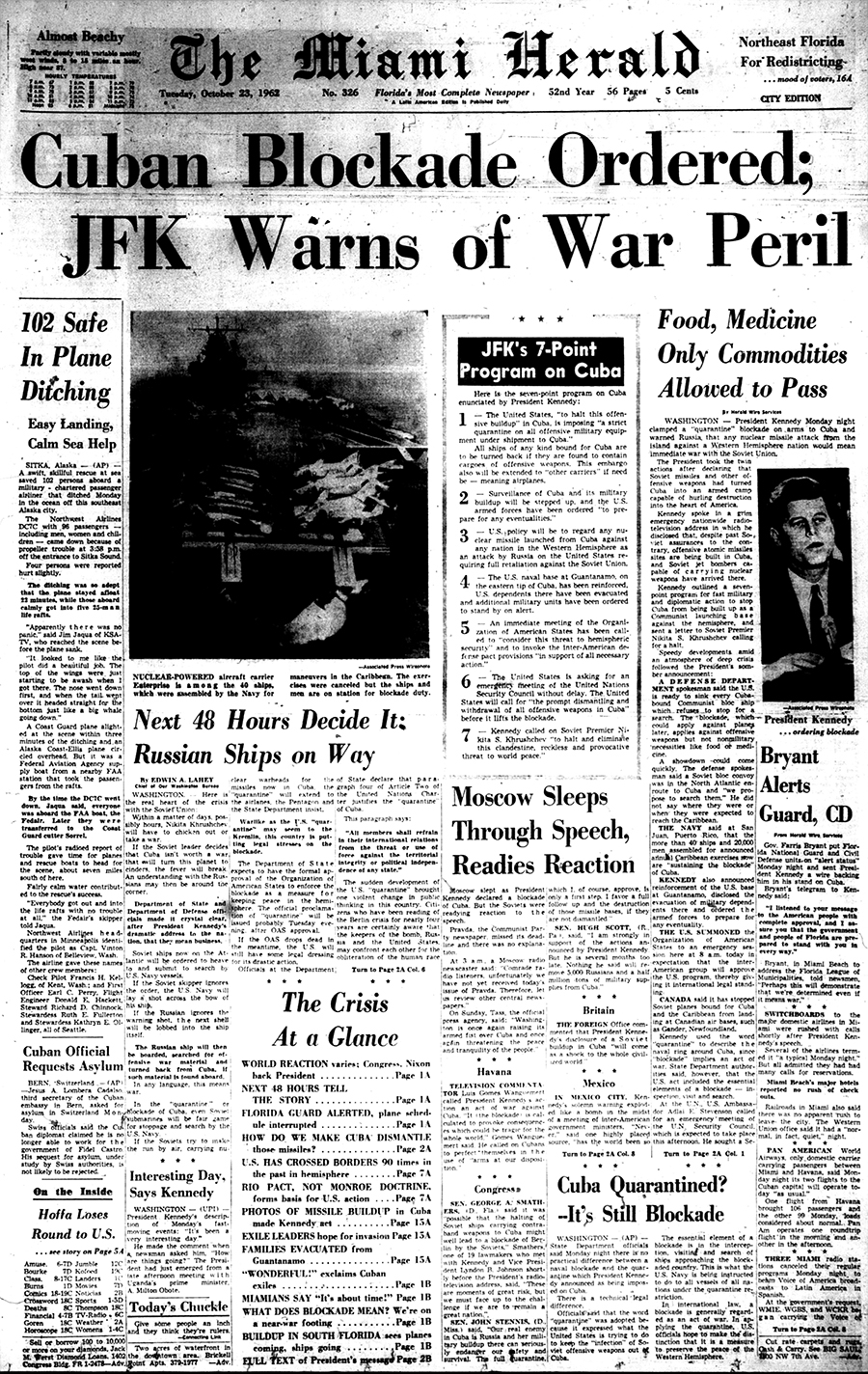 The front page of the Miami Herald on Tuesday, Oct. 23, 1962. // Miami Herald file