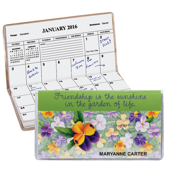 Personalized Pansy 2 Year Pocket Planner Calendars