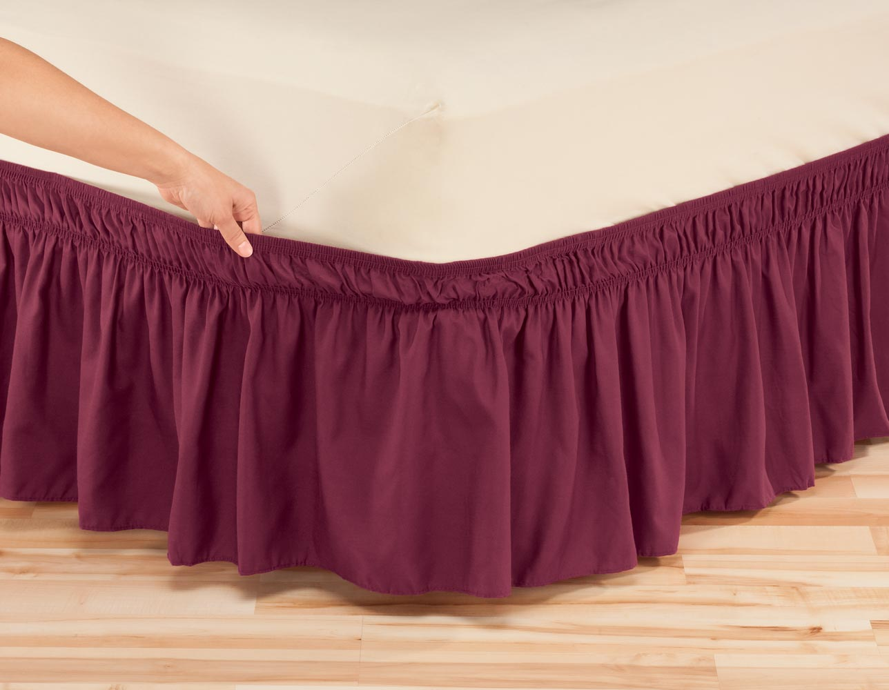 Solid Wrap Around Elastic Bed Skirt By Oakridgetm