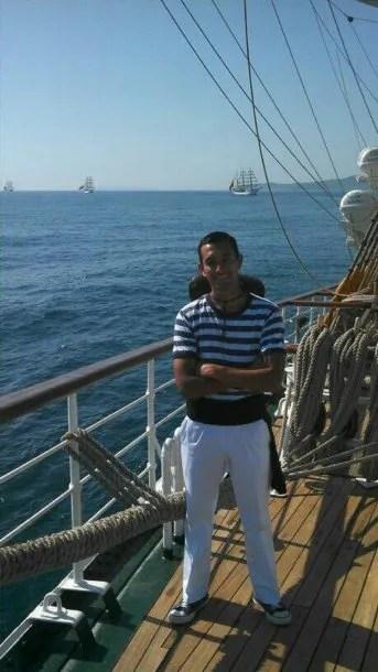 Luis Niz en el mar<br>