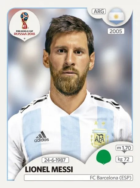 Lionel Messi en el álbum de figuritas de Rusia 2018