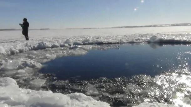 El cráter que dejó el asteroide de Cheliábinsk