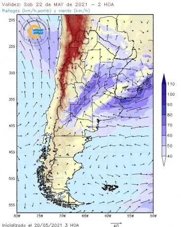 Clima: imagen proporcionada por el Servicio Meteorológico Nacional
