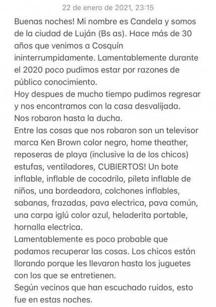 Inseguridad en Cosquín, Córdoba: les robaron más de 20 objetos