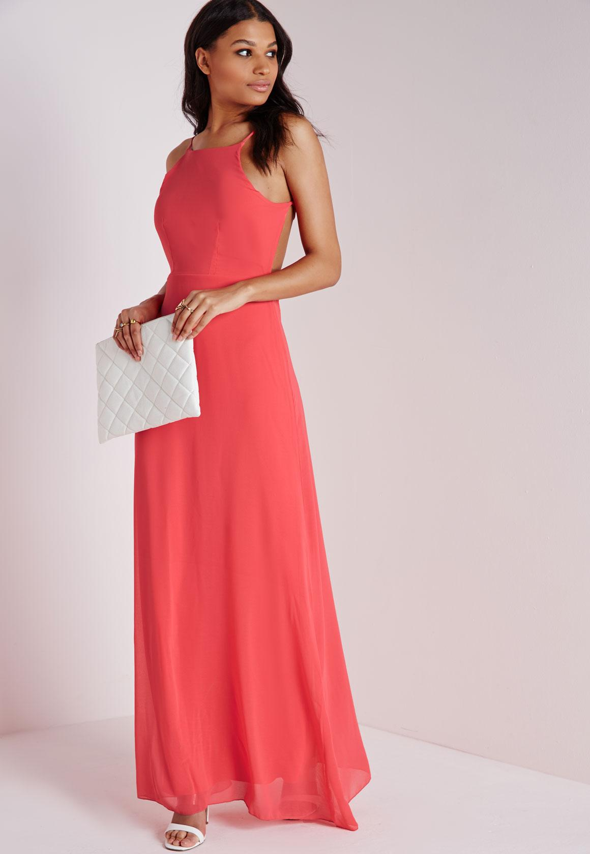 Strappy Back Maxi Dress Coral Missguided
