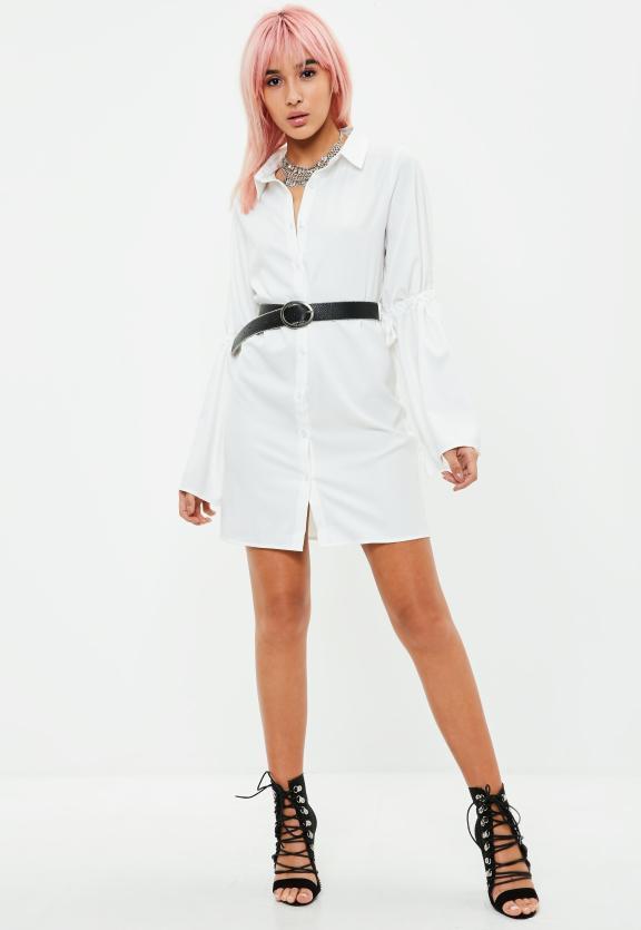 Robe-chemise blanche manches évasées à lanières