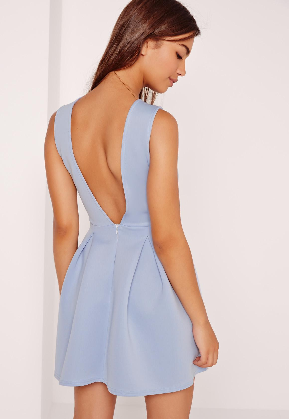 Robe Patineuse Bleu Clair Dos Chancr Missguided