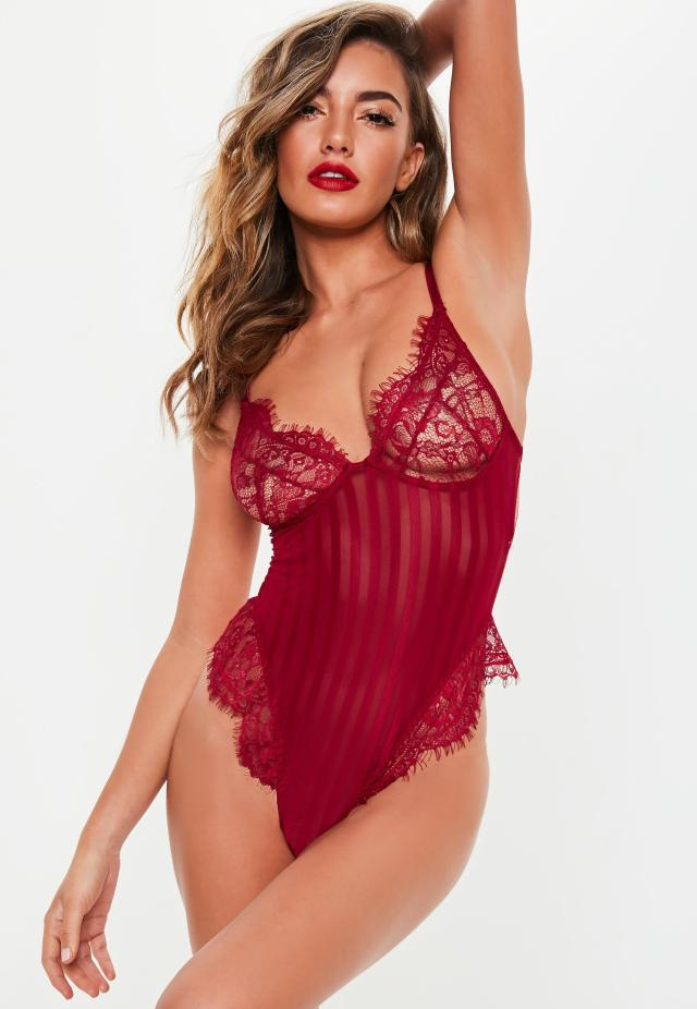 Red Lace Stripe Detail Cupped Bodysuit  C2 B7 Burgundy Lace Stripe Detail Cupped Bodysuit