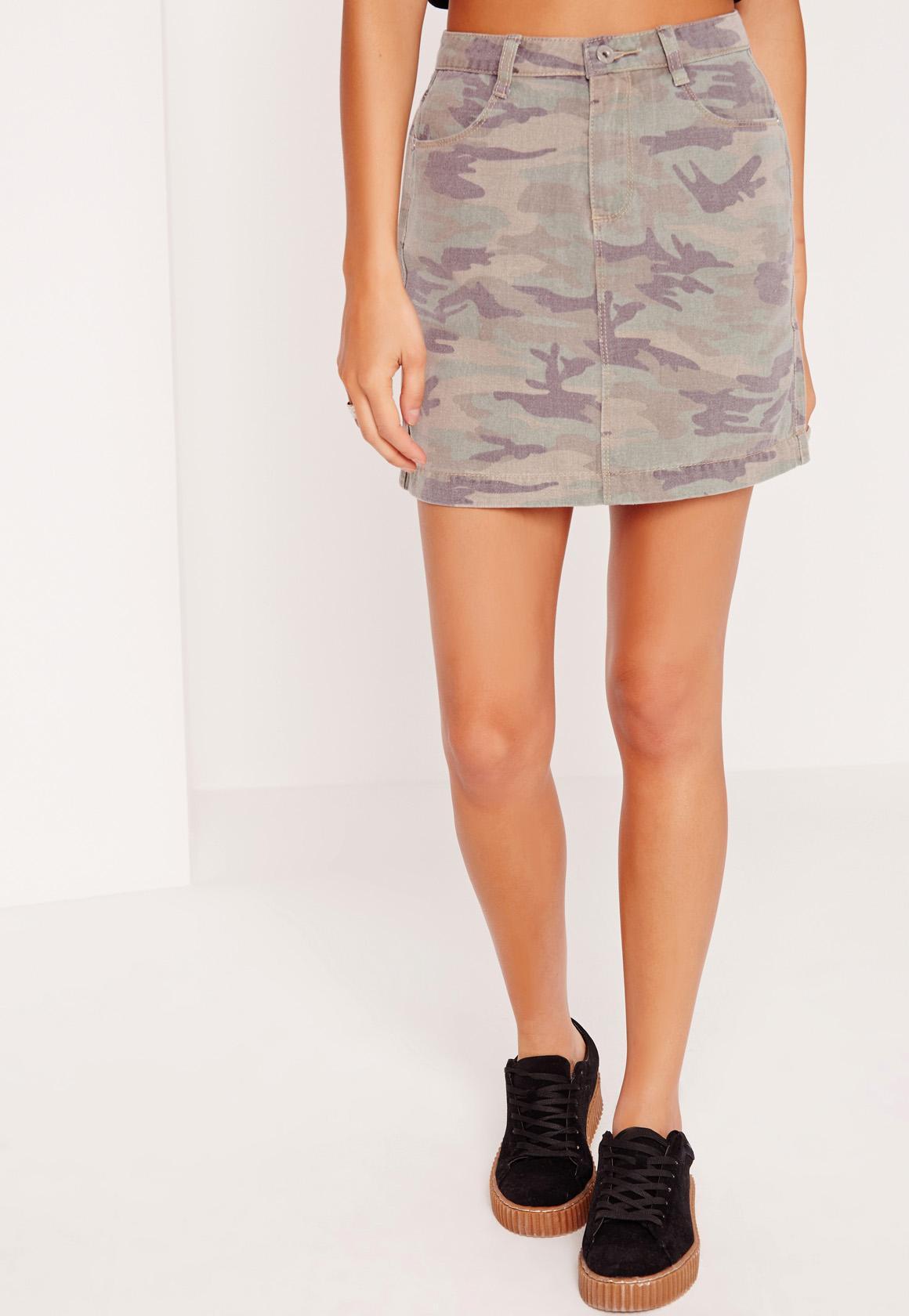 Camo Denim Skirt Khaki Missguided