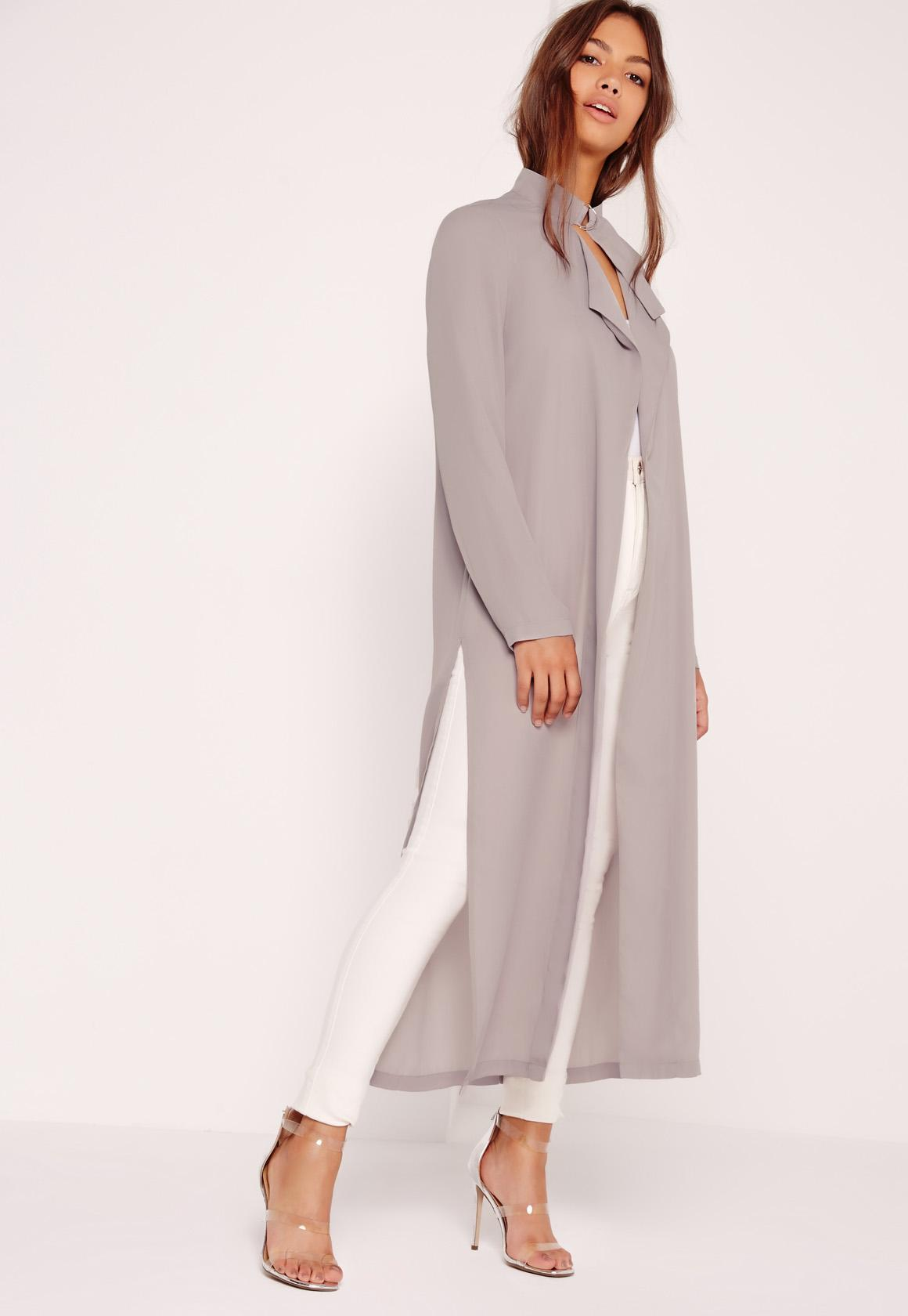 Tie Choker Chiffon Duster Coat Grey Missguided