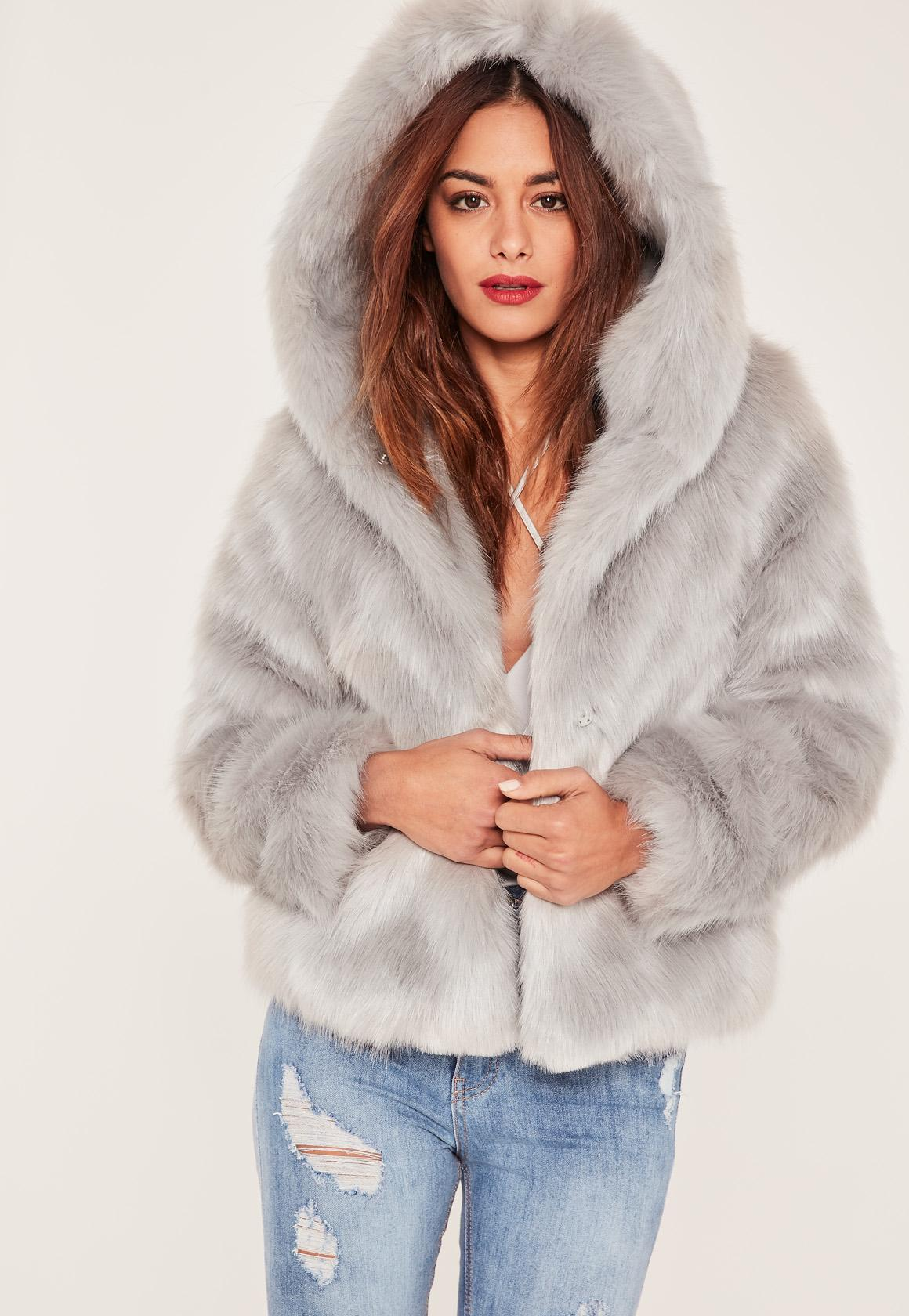 Caroline Receveur Grey Hooded Faux Fur Coat Missguided